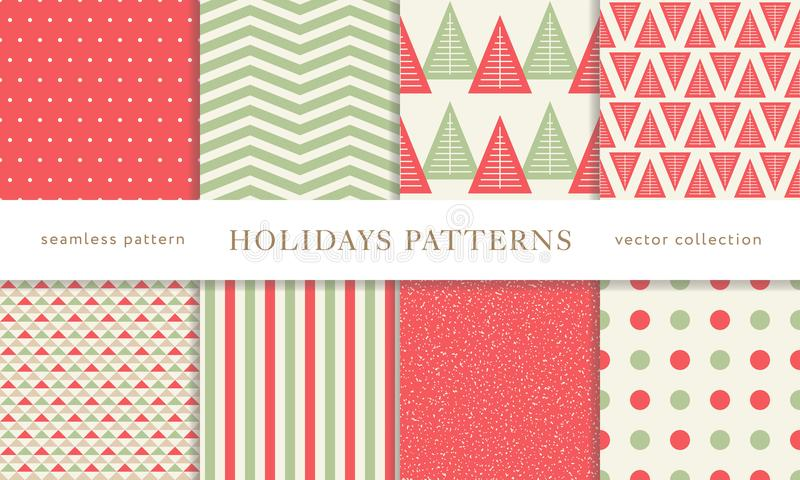 Winter holidays seamless patterns royalty free stock photo