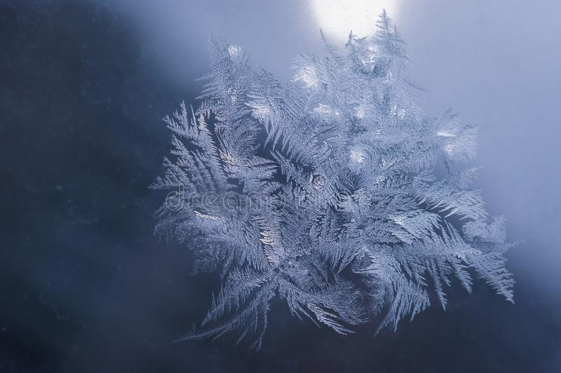 Winter Holidays Season Fantasy World Concept: Macro Image of Natural Ice Crystals Patterns on a Frosted Window Pane With Sun Glow stock photo