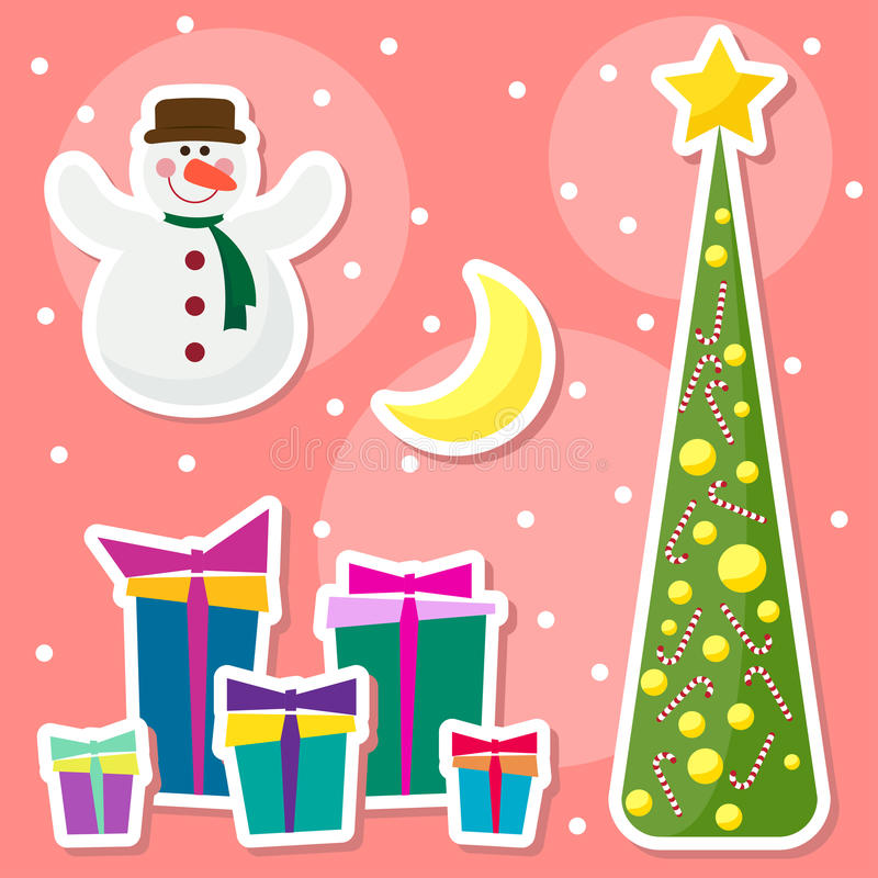 Winter holidays set with funny cartoon snowman, drawing snowflakes, moon, fir and many bright colored gifts. Winter holidays set with funny cartoon smiling royalty free illustration