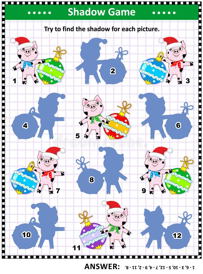 Winter holidays shadow game with pigs and baubles stock illustration