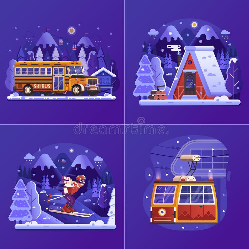 Winter Holidays on Skiing Mountain Resort stock illustration