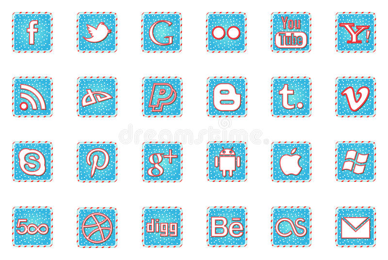 Winter Holidays Social media Icons. Social media Icons based on the theme of winter and christmas stock illustration