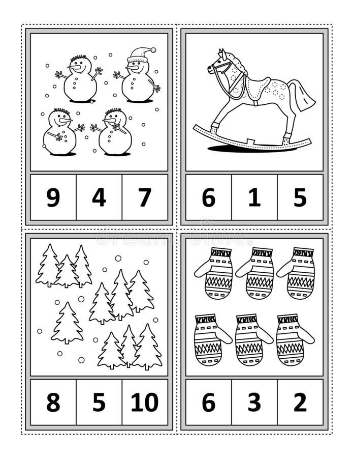 Math activity page for kids - count, circle the answer, color. Winter holidays themed counting 1 to 10 practise for kids worksheet or four task cards when cut royalty free illustration