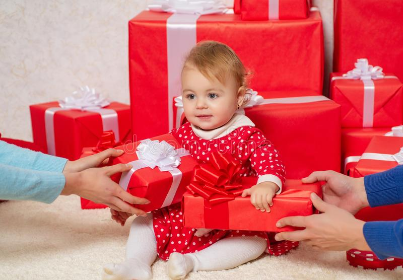 Winter holidays. Wish to meet santa claus. Happy childhood. Merry christmas and happy new year. Child toddler relax at stock photography