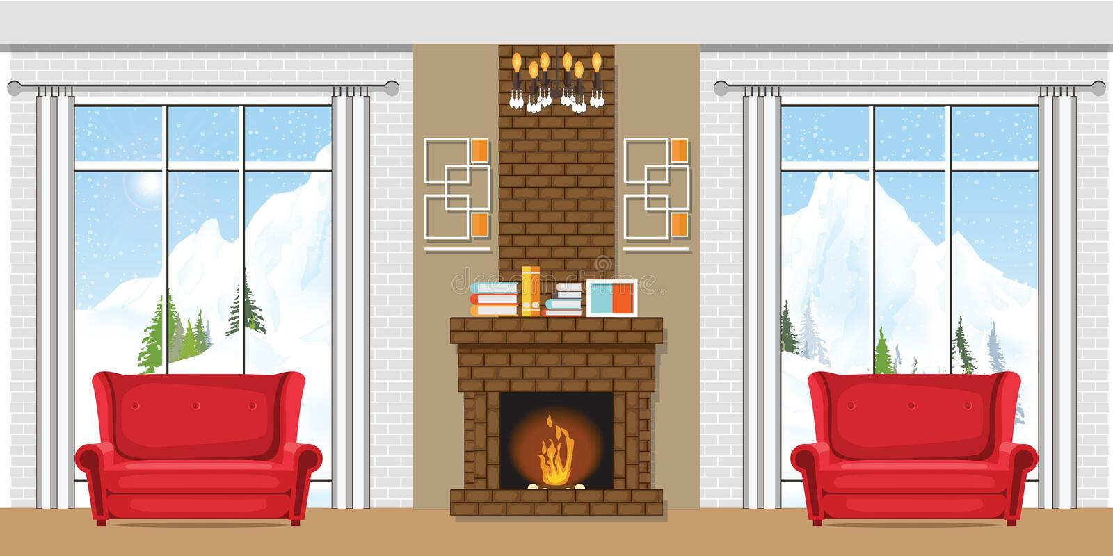 Winter home interior with a fireplace stock illustration