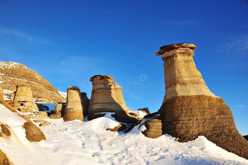 Winter hoodoos Feld lizenzfreie stockfotografie