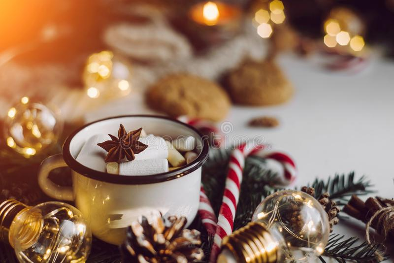 Winter hot drink. Christmas festive decoration royalty free stock photos