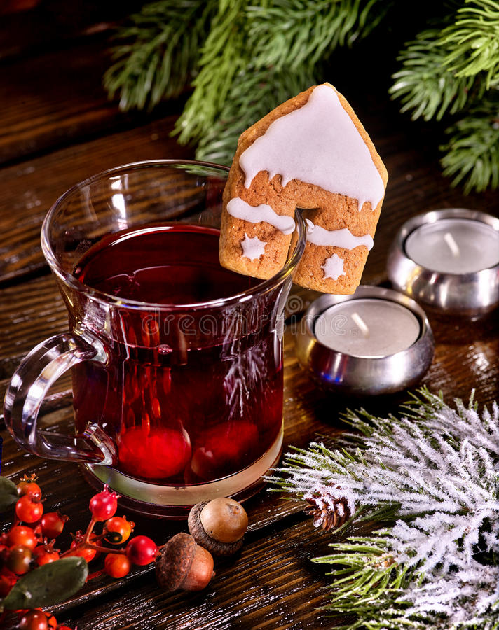 Winter hot drink with cookie and spruce branch. Still life of winter hot drink and spruce branch. Warming mulled wine with cookie in form of house. Top view stock photography