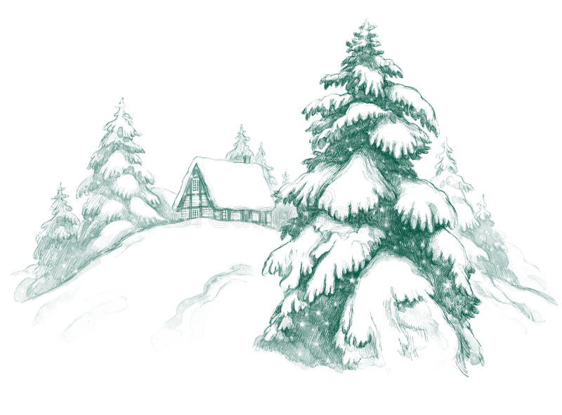Download Winter house stock illustration. Illustration of frost - 23689913