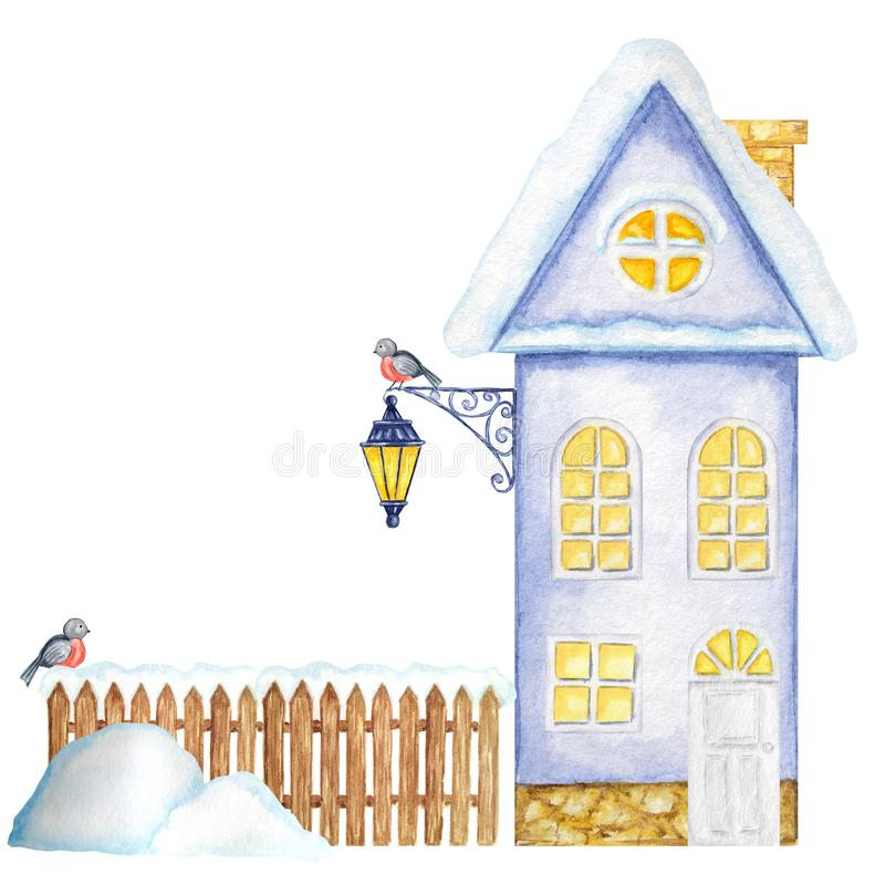 Cartoon Winter House, brown wooden fence with snow, luminous Street Lamp, snowdrifts and Bullfinch bird couple. Front. Winter House, brown wooden fence with snow stock photography