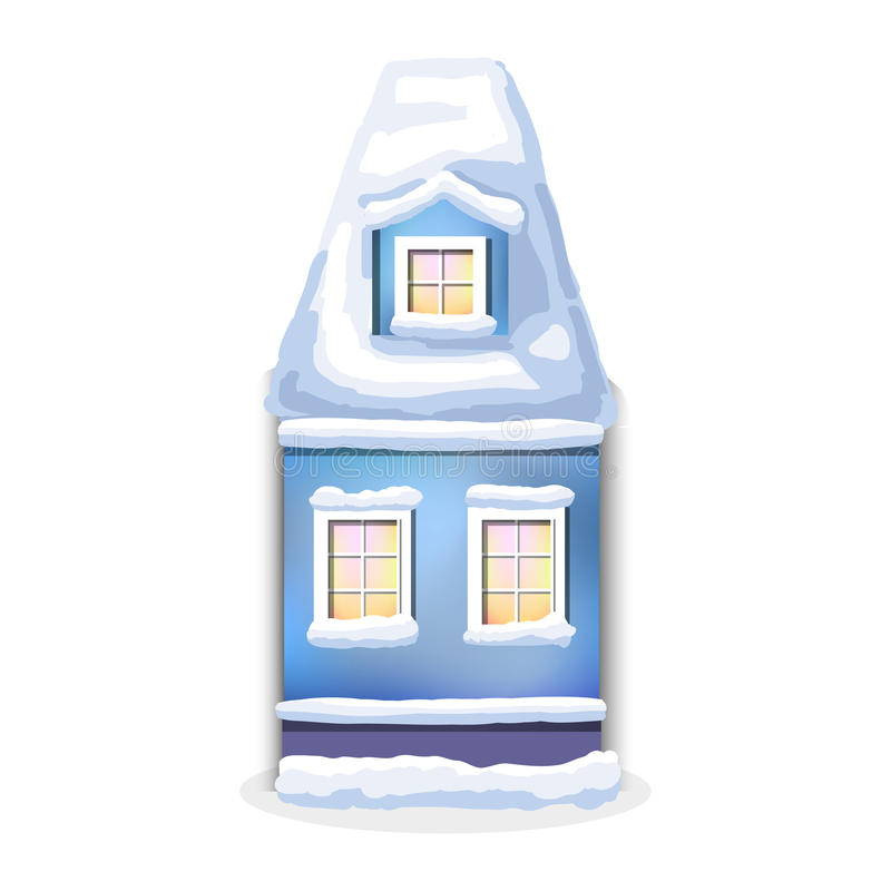 Winter house. Country cozy house, covered in snow. Winter blu house. Country cozy house, covered in snow on a white background vector illustration