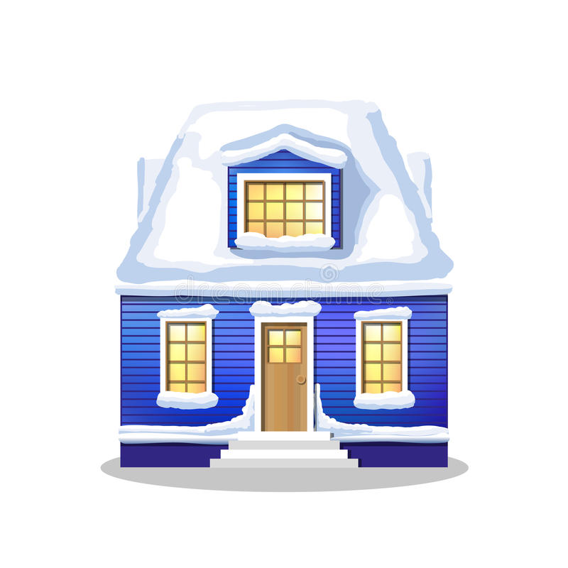 Winter house. Country cozy house, covered in snow. Winter blu house. Country cozy house, covered in snow on a white background royalty free illustration