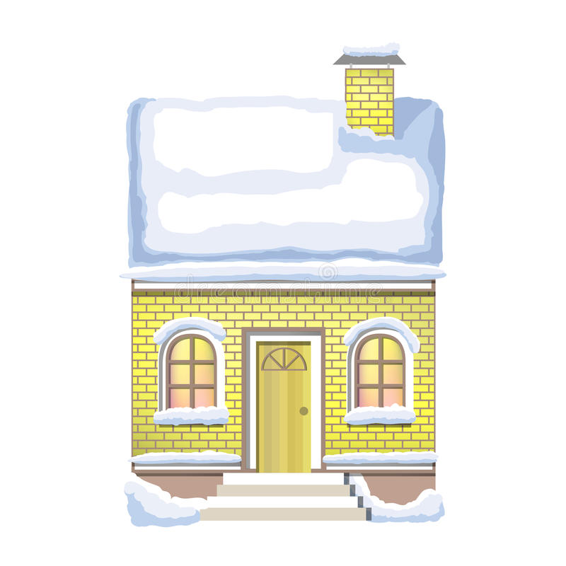 Winter house. Country cozy house, covered in snow. Winter brick house. Country cozy house, covered in snow on a white background vector illustration