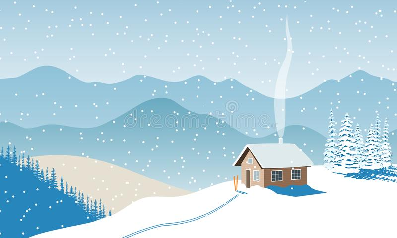 Winter with house, distant mountains, skies, snow, Snow flurry, sun light, chimney smoke, forest, ski run. Snow flurry, Fir tree. royalty free illustration