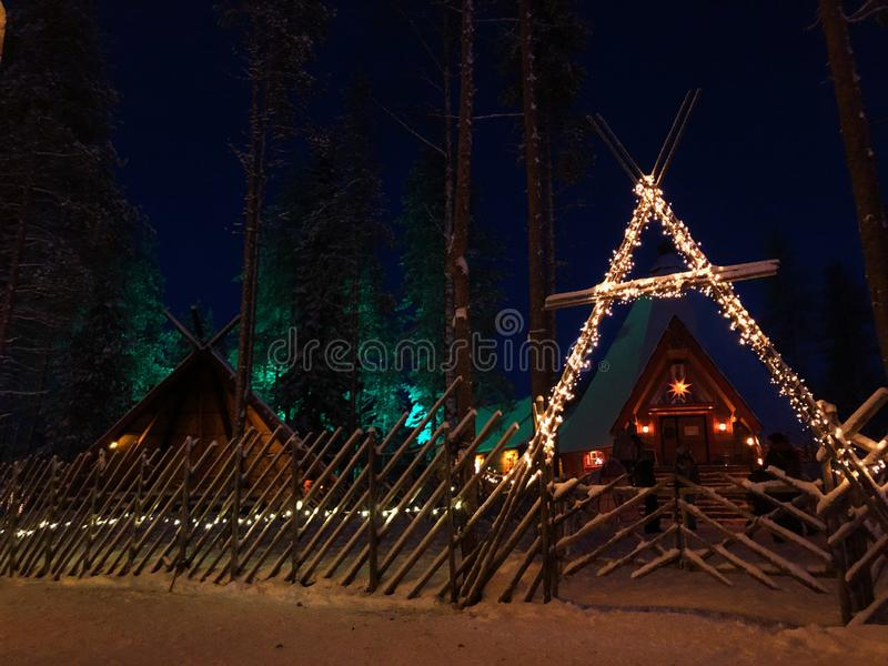 Winter house in Lapland royalty free stock photos