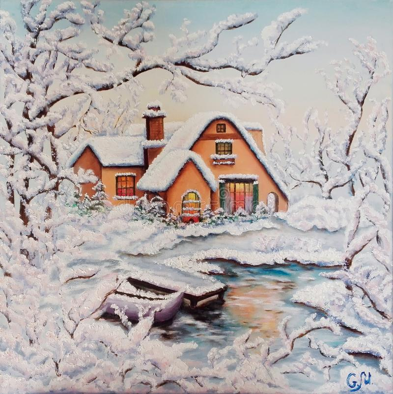 Winter. House by the river in the snow. Snow covered trees. Boat at the frozen river. Oil on canvas. royalty free illustration