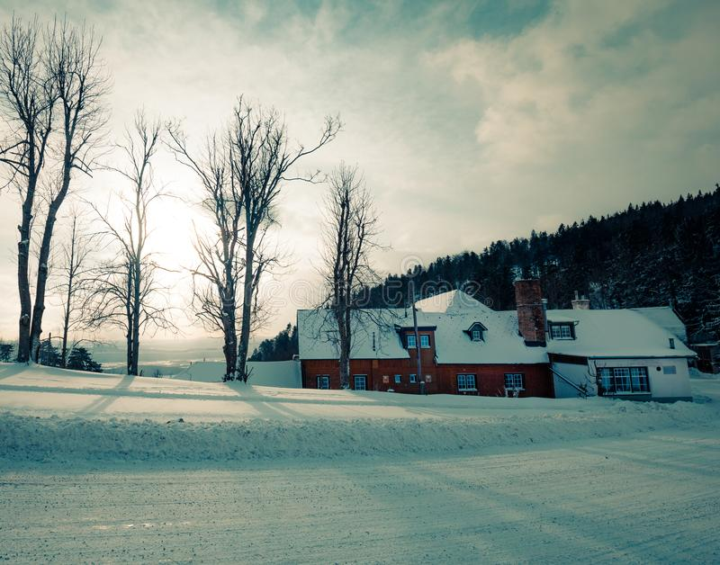 Winter house on winter snowy panoramic landscape. Hohe wand austria stock images