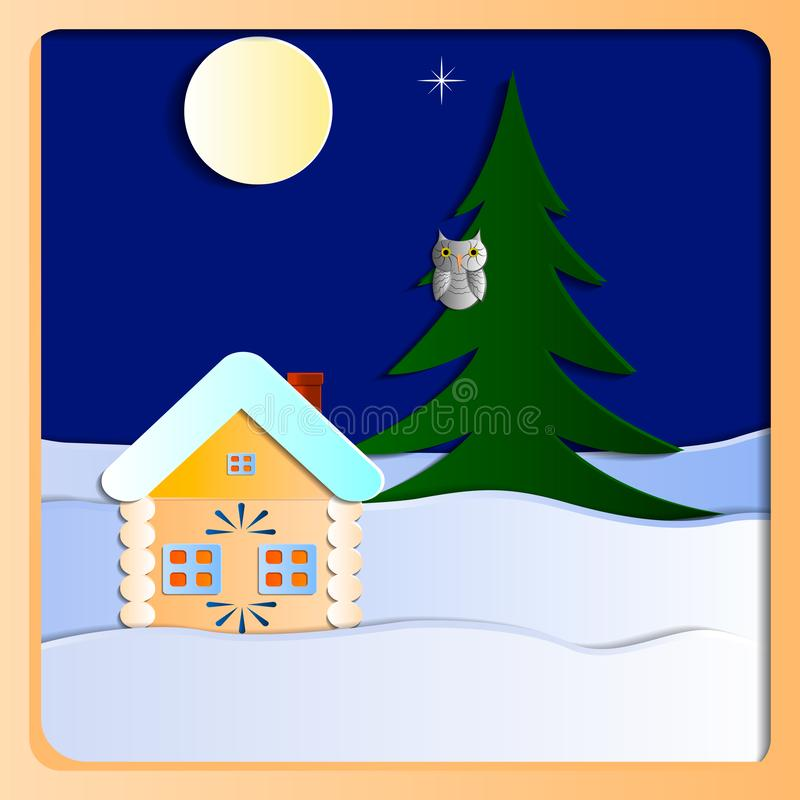 Winter house. Winter landscape. House, moon and owl on the tree. Vector pattern paper, layered look vector illustration