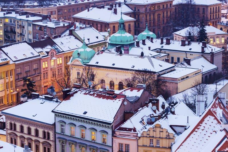Winter in Hradec Kralove. Hradec Kralove, Bohemia, Czech Republic royalty free stock photo
