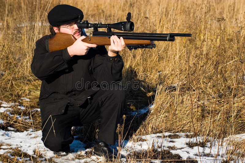 Winter hunter royalty free stock photography