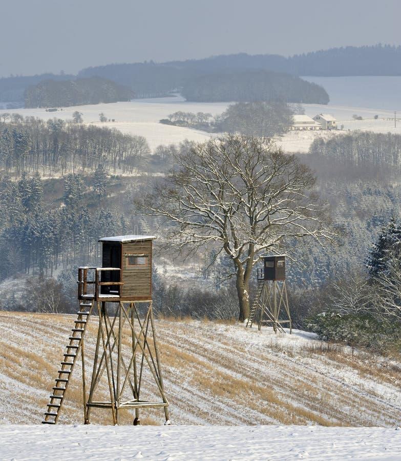 Winter hunting scene royalty free stock photo