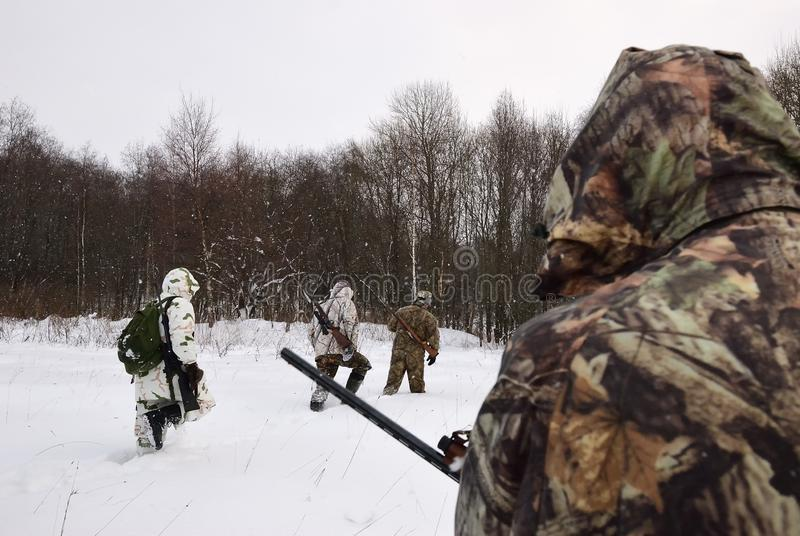 Winter hunting in woods royalty free stock photo