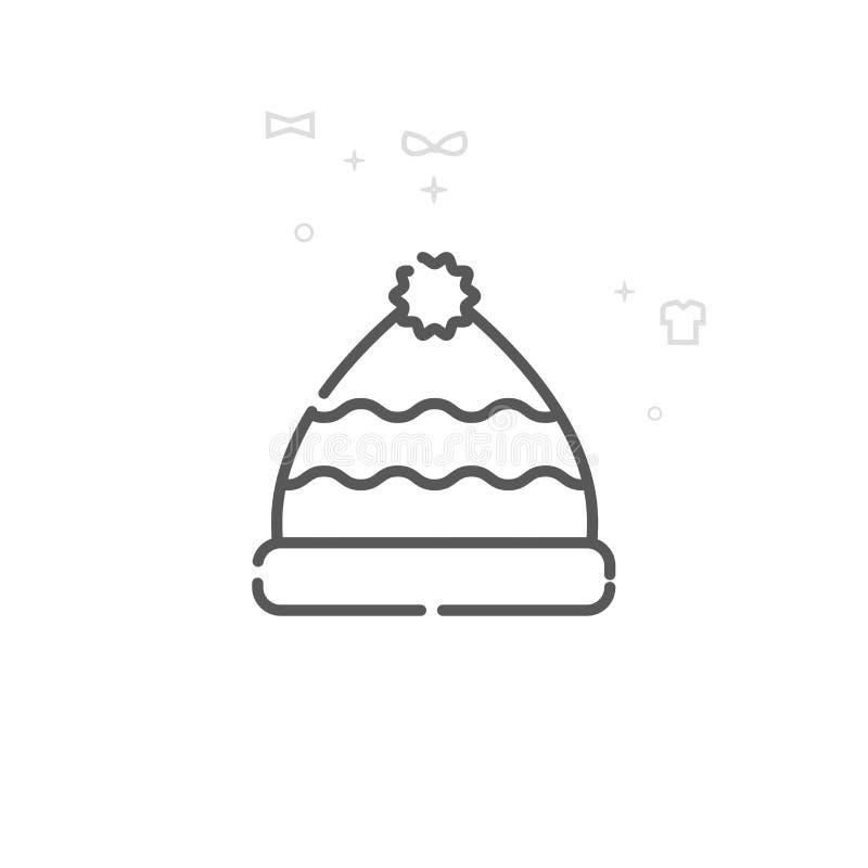 Winter-Hut mit Pom Pom Vector Line Icon, Symbol, Piktogramm, Zeichen Heller abstrakter geometrischer Hintergrund Editable Anschla stock abbildung