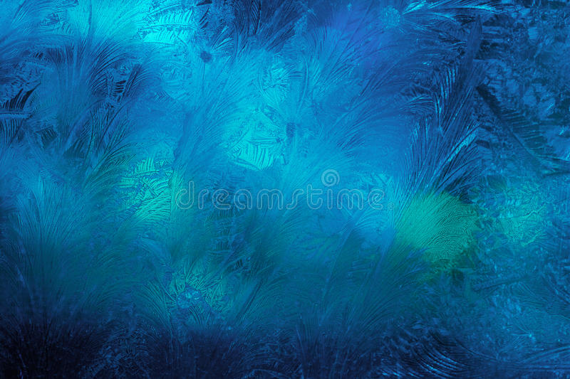 Winter ice frost, frozen background. frosted window glass texture. Cold cool icicles background. Winter wonderland scene. stock image