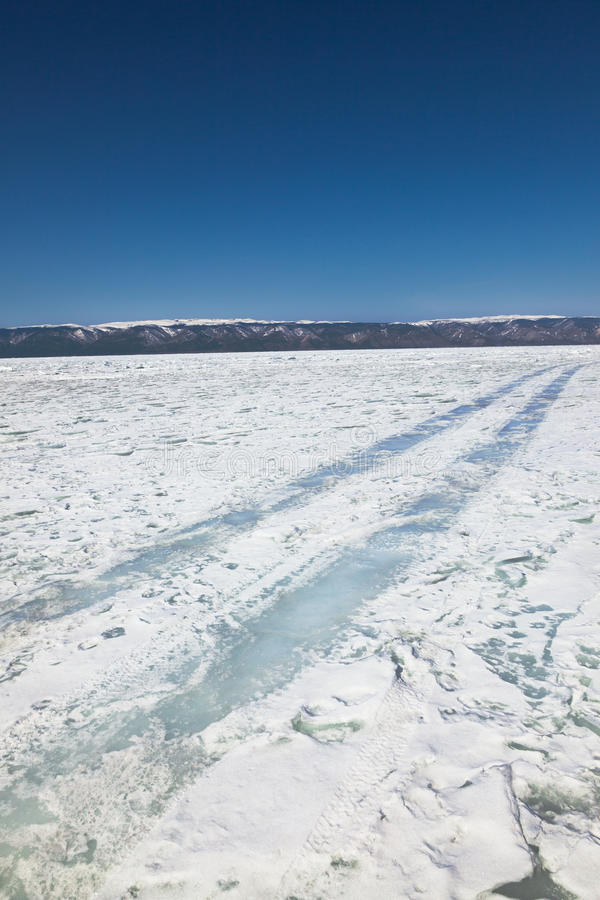 Download Winter Ice Road Through Baikal Stock Photo - Image of scenic, natural: 39511722
