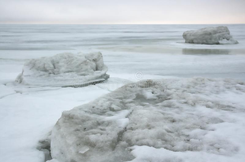 Winter ice sea.white ice royalty free stock photography