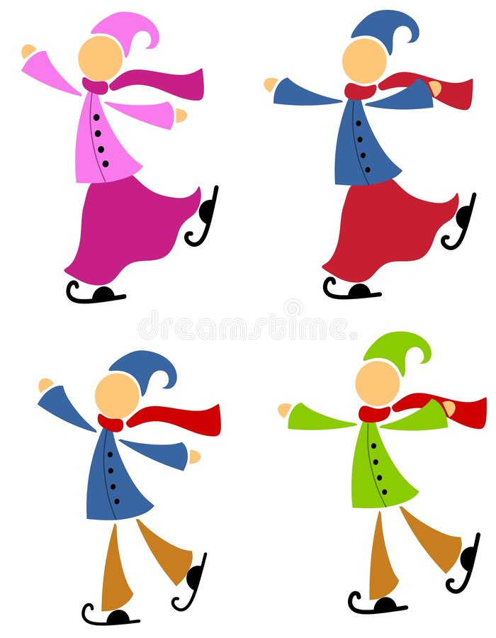 Winter Ice Skaters. An illustration featuring your choice of male and female ice skaters dressed with a holiday theme vector illustration