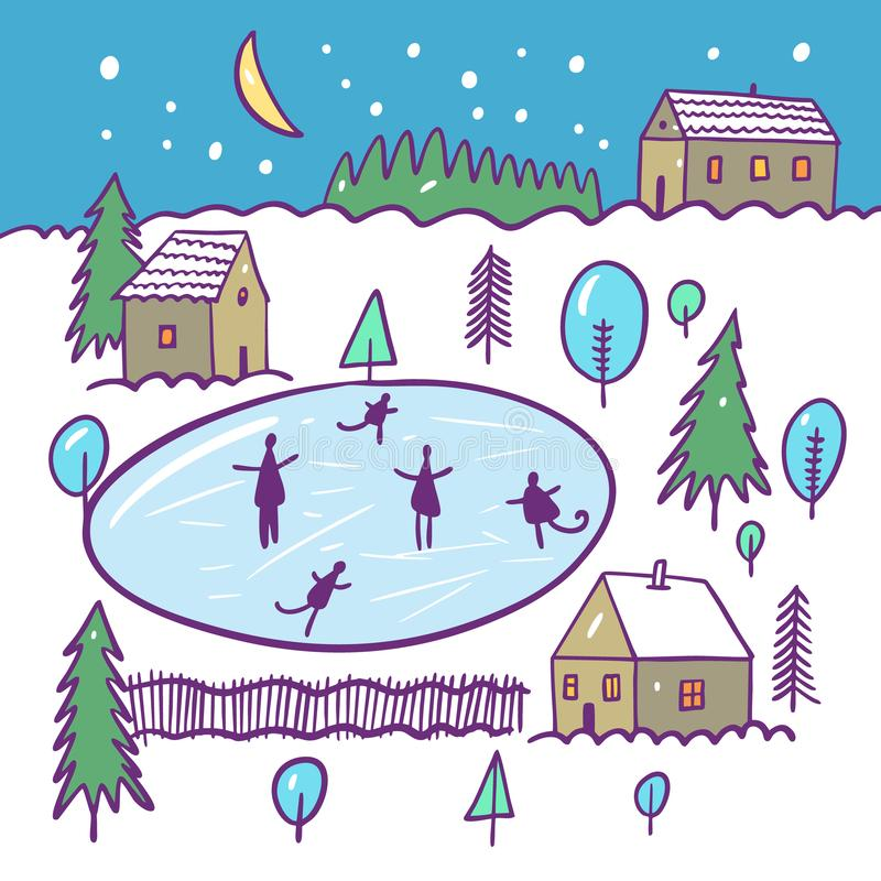 Winter ice-skating rink and houses on landscape. Hand drawn vector illustration. Cartoon style. royalty free illustration