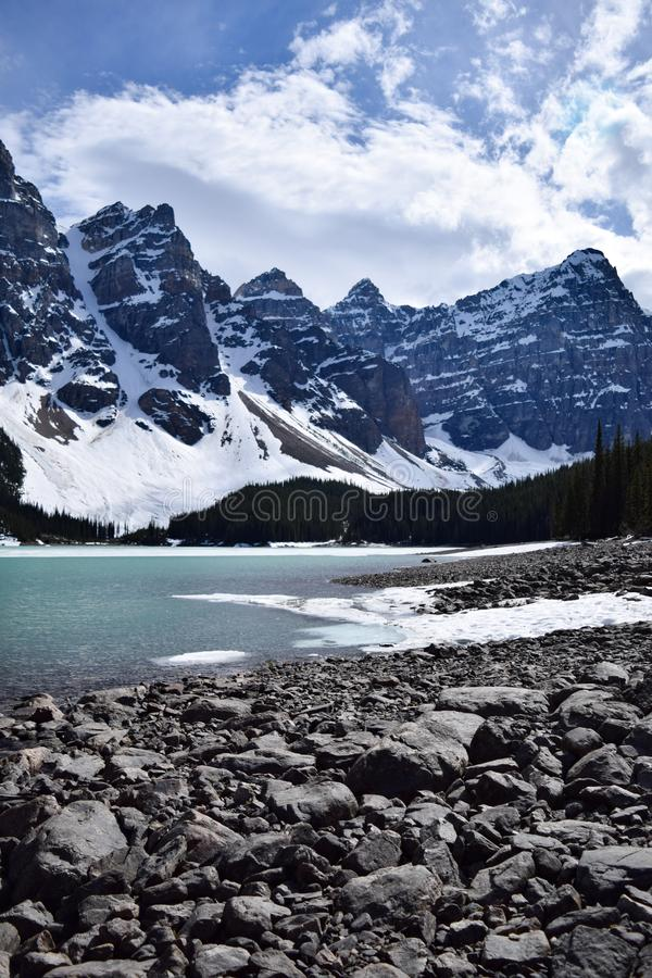 Lake Moraine in Late Spring stock photography