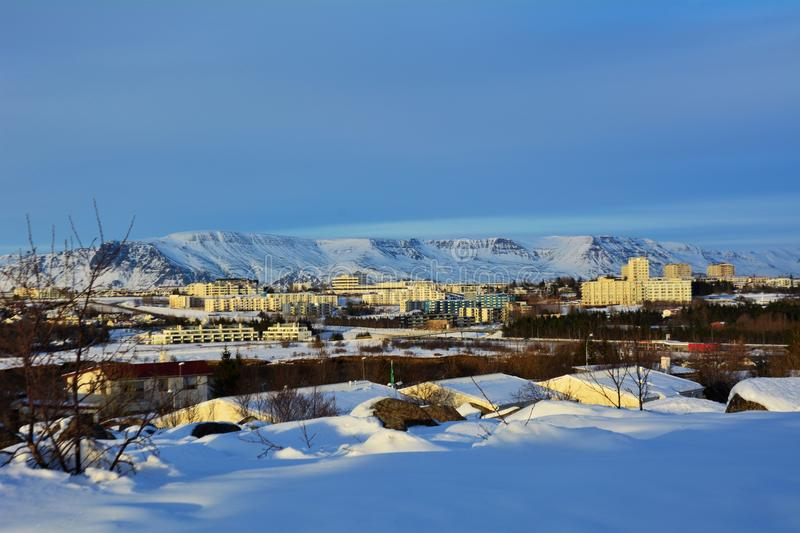 Winter in Iceland. View from the top of Kopavogur Church - Kopavogskirkja in Iceland in the winter time stock photo
