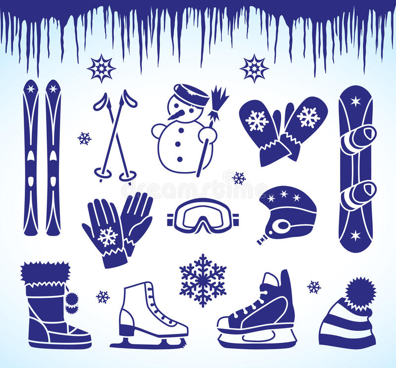 Download Winter icons stock vector. Illustration of snowboard - 33627664
