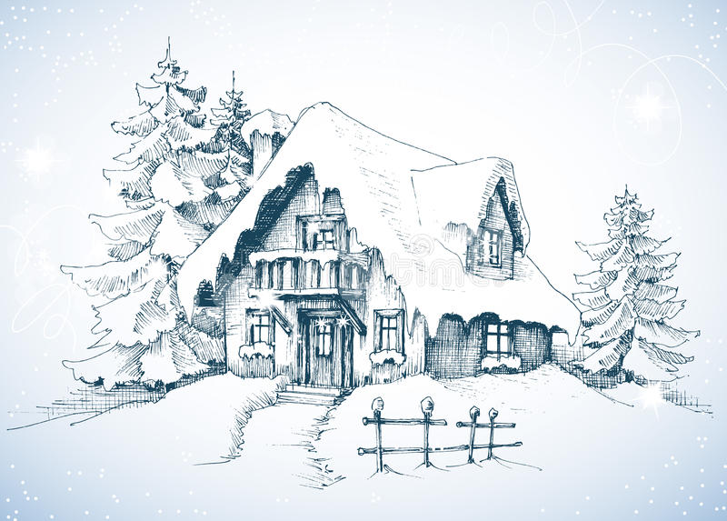 Winter idyllic landscape. Pine trees and house in the snow stock illustration