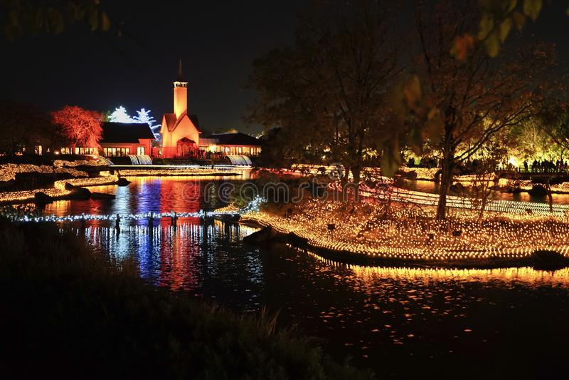 Winter Illumination event show at night in Nabana no Sato garden. stock photo