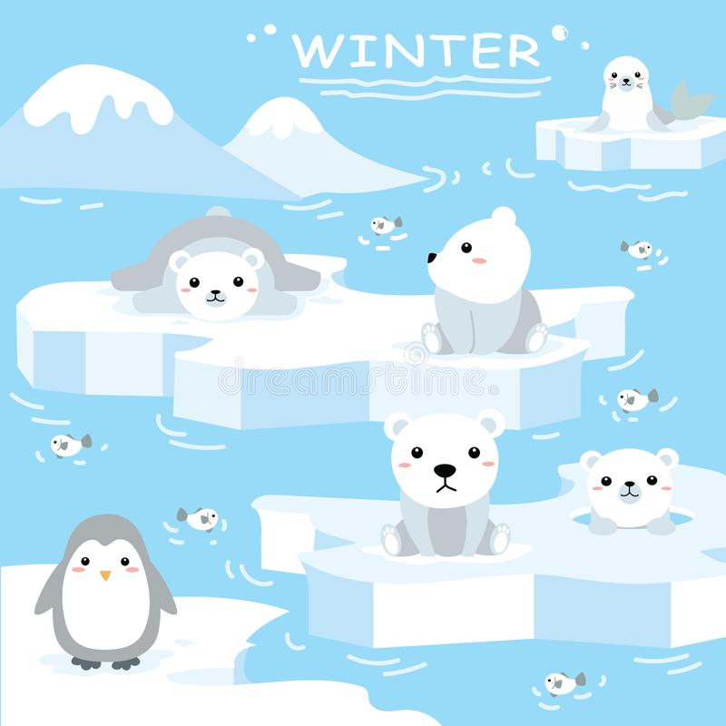 2018-07-10 Winter1. Illustration of animal cartoon animation about North Pole, Mammal in the forest. Animals of pole vector illustration