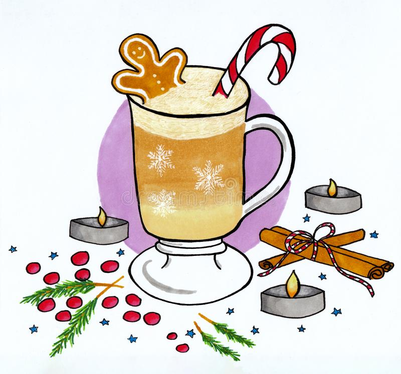 Winter illustration of coffee cup with gingerbread and candy cane royalty free stock images