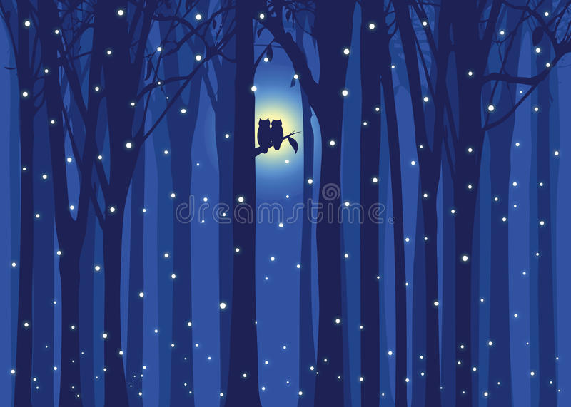 Winter Illustration Love Owl In Snowing Forest Royalty Free Stock Photo