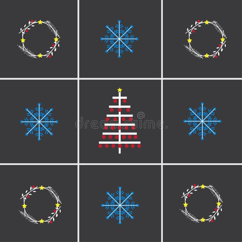 Winter illustration with snowflakes, branches, Christmas tree. Boho style royalty free stock photos