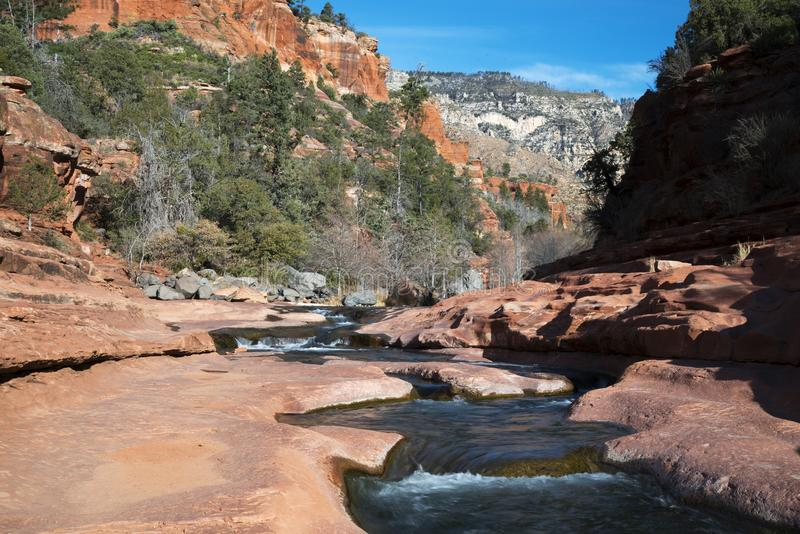 Oak Creek at Rock Slide State Park in the Coconino National Fore stock image