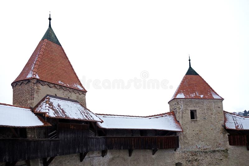 Two Castle Towers Connected by Walkway royalty free stock images