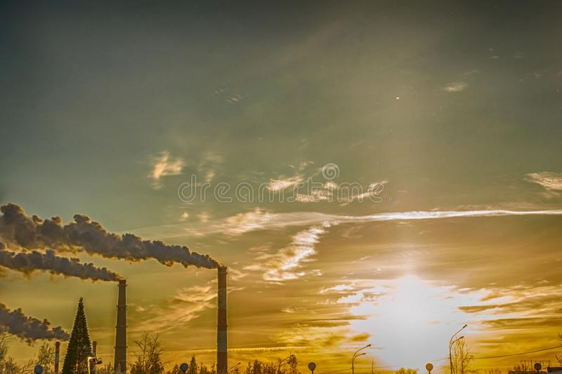 Winter industrial city stock images
