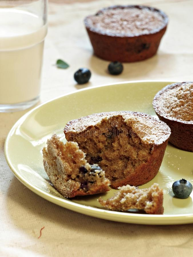 Winter integral muffins with blueberries. Integral muffins with blueberries, ideal healty breakfast royalty free stock images