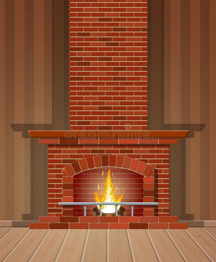 Winter interior bonfire. Fireplace made of bricks vector illustration