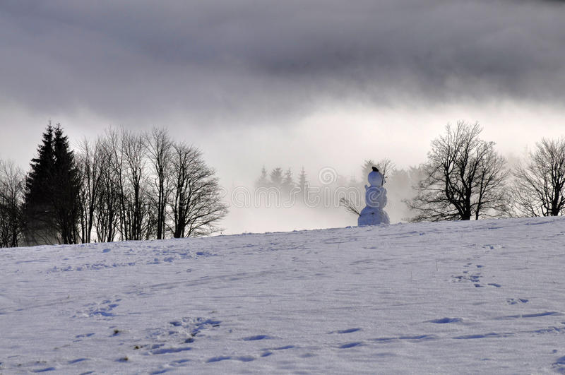 Winter inversion. Beautiful winter inversion in Ore Mountains (Krusne Hory) in the Czech Republic royalty free stock photos