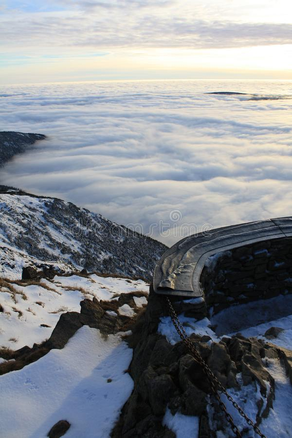 Winter inversion on Snezka stock images