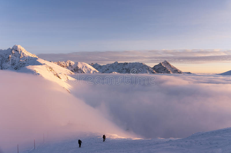 Winter inversion in the Tatra Mountains during sunset royalty free stock photo