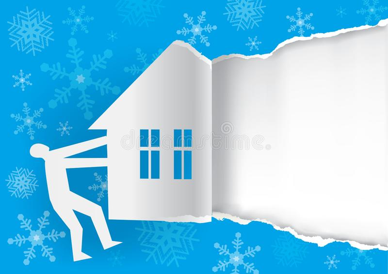 Winter invitation concept, blue torn paper background template. royalty free illustration
